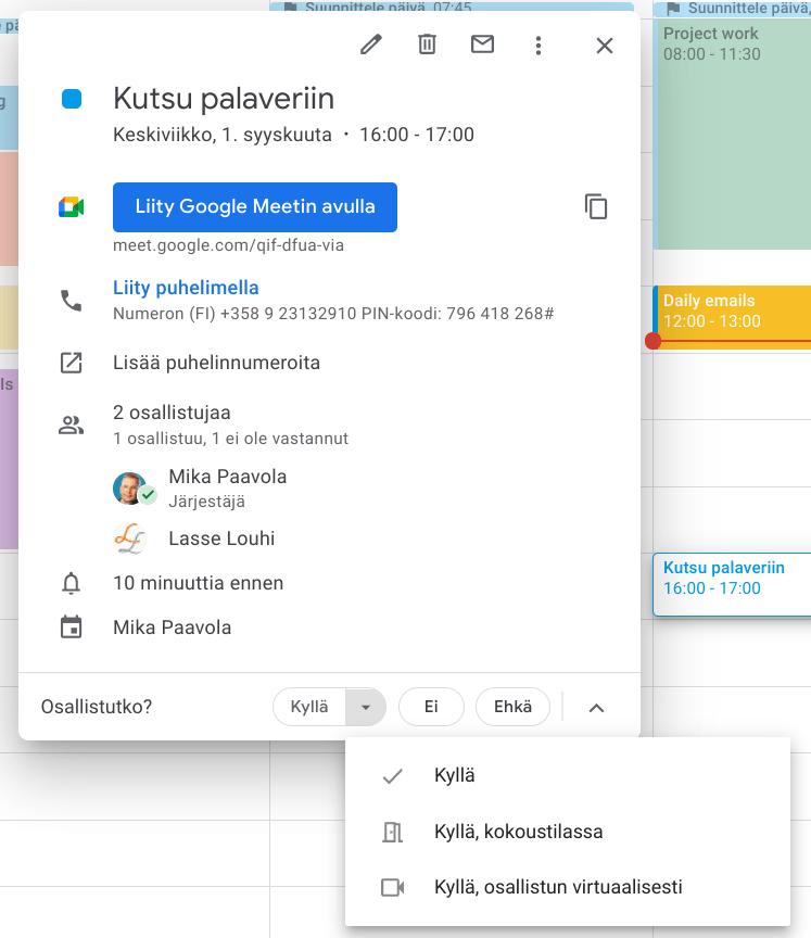 Google kalenterivarauksen hyväksyminen ja osallistumistavan ilmoittaminen.